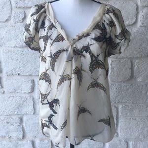 Moulinette Souers Silk Hummingbird Blouse